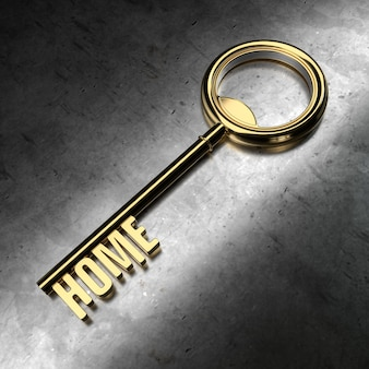 금속 배경에 홈 단어와 함께 골드 키입니다. 3d 렌더링 그림입니다.
