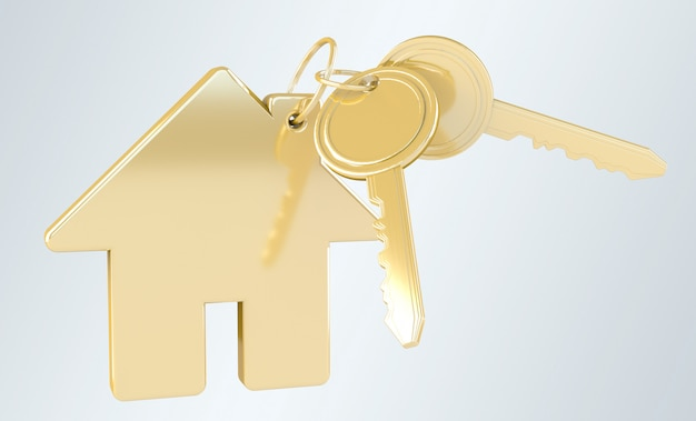 Gold key with house keyring 3d rendering