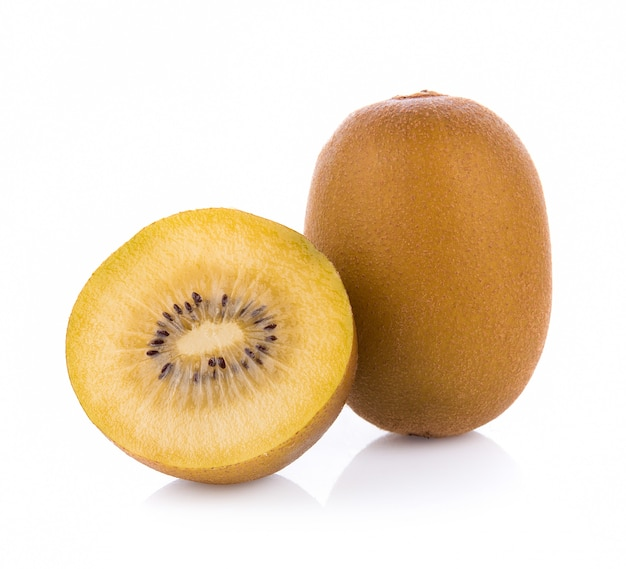 Gold kiwi fruit isolated on white background