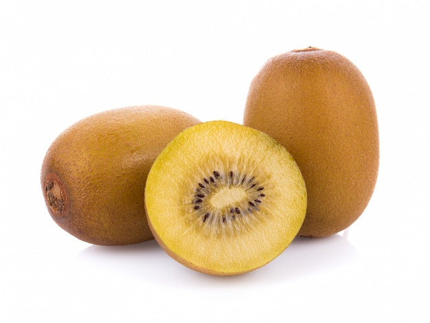 Gold kiwi fruit isolated on white