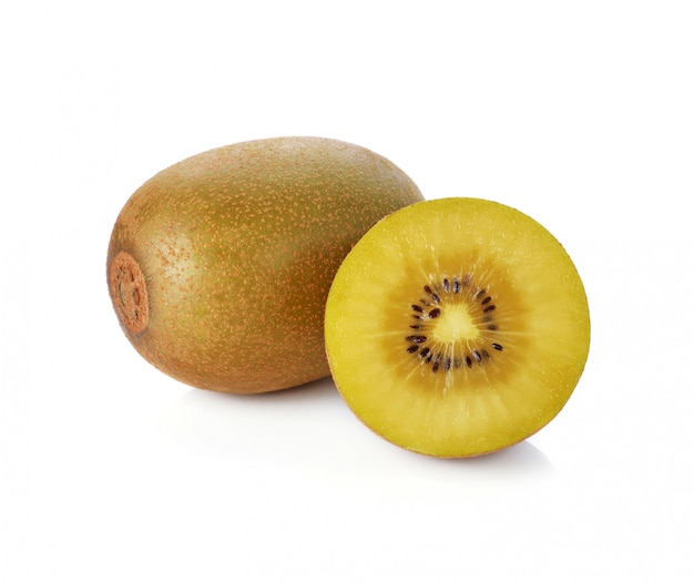 Gold kiwi fruit on white