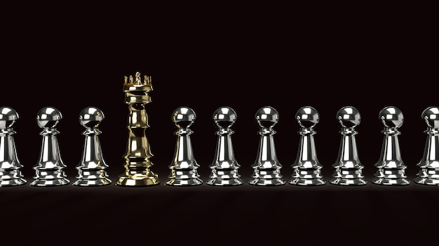 Gold kong chess and silver pawn on dark tone, 3d rendering.