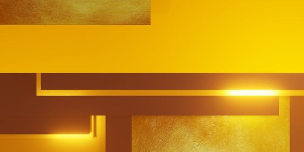 Gold leaf texture background black and yellow frame floor level elegant powerful 3d illustration