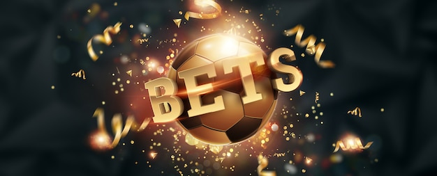 Gold lettering bets against soccer ball and dark background.