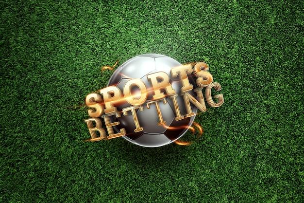 Золотые надписи спортивные ставки на фоне футбольного мяча и зеленой лужайке.