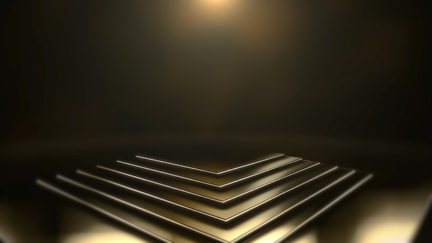 Gold lights and stage, abstract background. elegant and luxury dynamic style for awards 3d illustration