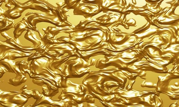 ゴールドの液体テクスチャ背景の3 dレンダリング