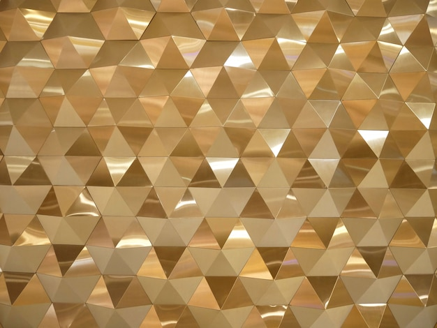 Gold low poly triangles and polygons geometric abstract background.