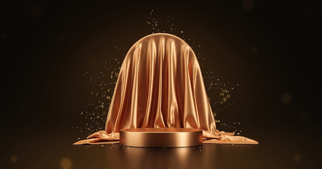 Gold luxury fabric product display or elegance podium pedestal on beauty golden glitter background with abstract presentation backdrops stage and showcase template. 3d rendering.