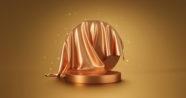 Gold luxury fabric product display or elegance podium pedestal on golden glitter background with abstract presentation backdrops stage and showcase template. 3d rendering.