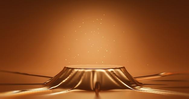 골드 럭셔리 패브릭 제품 디스플레이 또는 프리젠테이션 배경 무대 쇼케이스가 있는 추상적인 황금빛 반짝이 천 배경에 우아한 연단 받침대. 3d 렌더링.