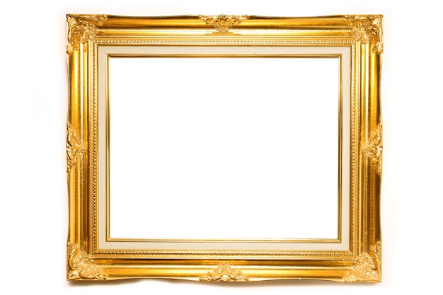 Gold luxury louise photo frame over white background