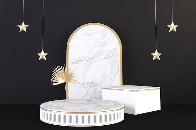 Gold luxury podium roman style on background black for show product.