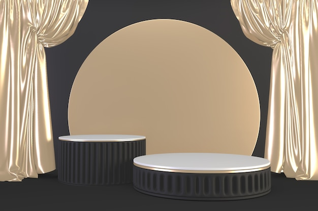 Gold luxury podium roman style on black for show product.