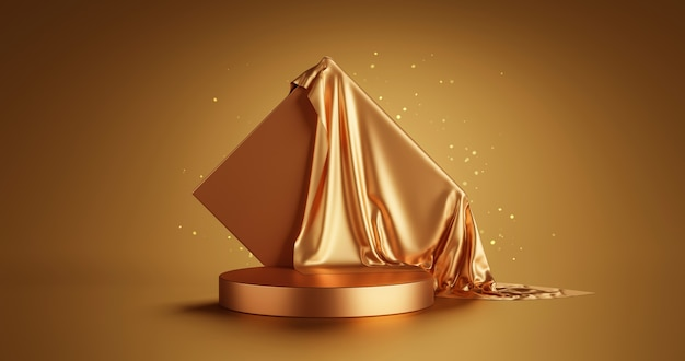 Gold luxury product display or elegance podium pedestal on abstract golden cloth background with presentation backdrops stage showcase. 3d rendering.