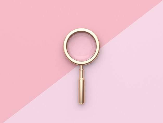 Gold magnifying glass minimal pink flat lay background 3d rendering
