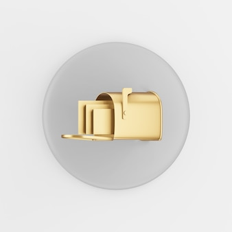 Gold mailbox icon in cartoon style. 3d rendering gray round button key, interface ui ux element.