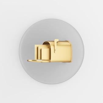 Золотой значок почтового ящика в мультяшном стиле. 3d-рендеринг серой круглой кнопки, элемент интерфейса ui ux.
