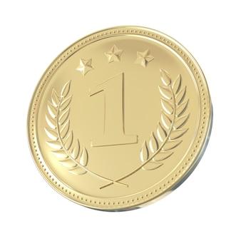 월계관과 별을 가진 금메달. 장신구와 라운드 빈 동전입니다.