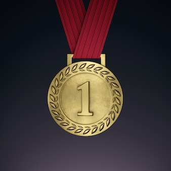 Gold medal with ribbon. 3d render