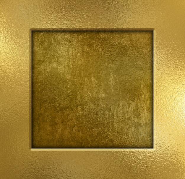 Gold metal frame on a grunge texture
