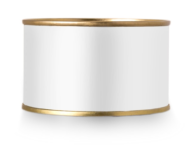 Gold metal tin can with white label isolated on white background.