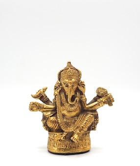골드 메탈릭 빛나는 코끼리 성공과 흰색 배경의 영주.