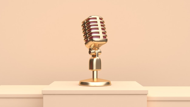 Gold microphone 3d render