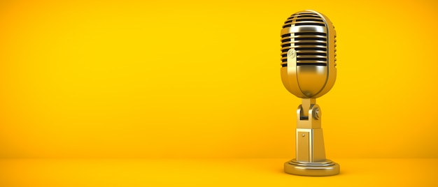 Gold microphone on yellow room, 3d rendering