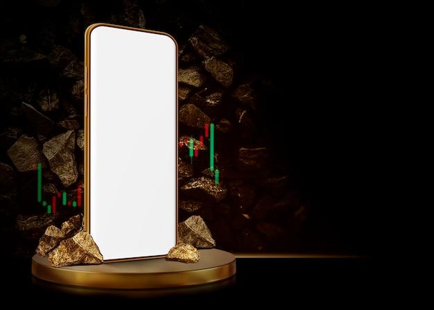 금광 개념 휴대 전화 및 금 배경