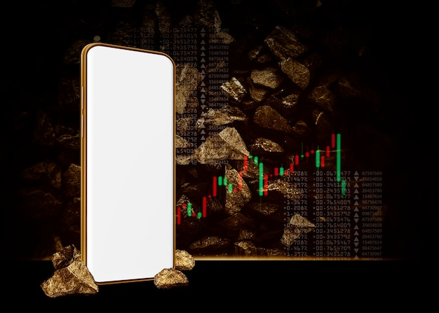 Gold mining concept mobile phone and gold background