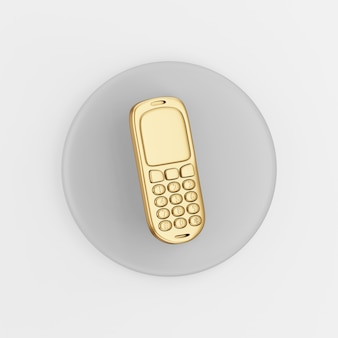 Gold mobile phone icon. 3d rendering gray round key button, interface ui ux element.