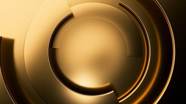 Золотой современный бизнес видео фон. вращение частей круга.