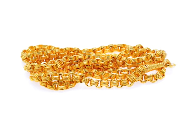 Gold necklace isolated on white