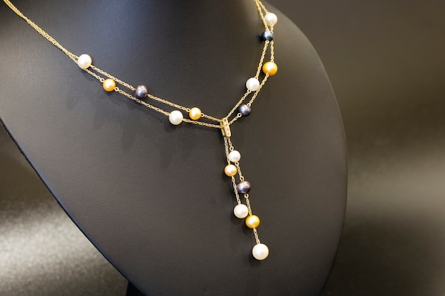 Gold necklace with multicolored pearls luxury necklace