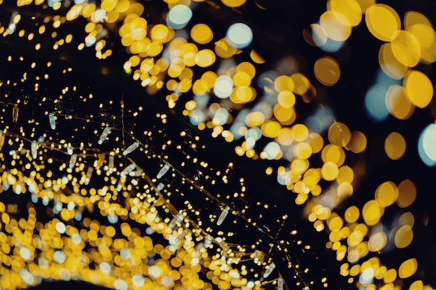 Gold new year lights abstract bokeh background