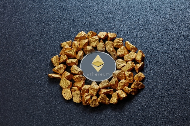 Gold nuggets in the form of a circle and a coin ethereum on a black concrete background. concept of financing bitcoin cryptocurrency in noble metal