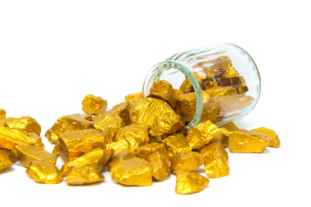 Gold nuggets, gold ore , precious stone or lump of golden stone