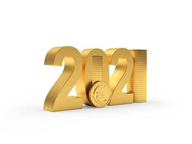Золотой номер 2021 с монетами евро в стопке