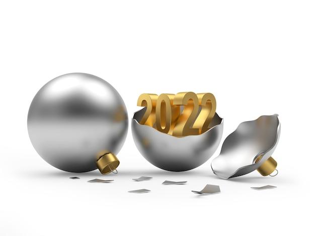 Золотое число нового года в серебряном сломанном елочном шаре