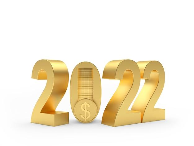 Золотое число нового года со стопкой долларовых монет