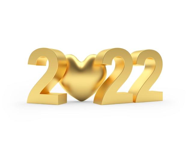 Золотое число нового года со значком сердца