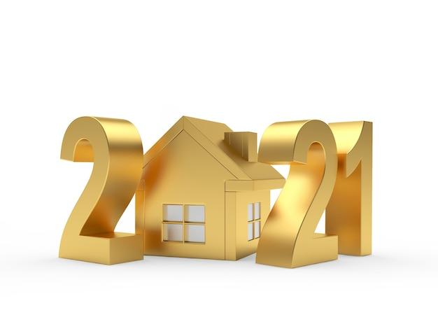 Золотые числа 2021 года и значок дома