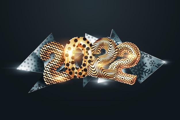 Золотые числа 2022 из воздушных шаров из золотой фольги. с новым годом. современный дизайн на темном фоне. шаблон оформления, заголовок для сайта, плакат, новогодняя открытка. 3d иллюстрации, 3d визуализация.
