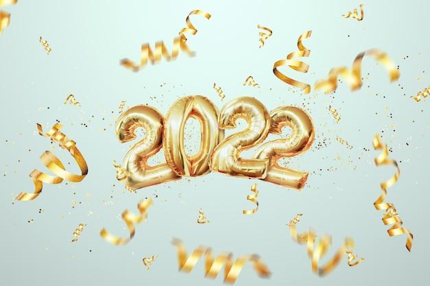Золотые числа 2022 из воздушных шаров из золотой фольги. с новым годом. современный дизайн на светлом фоне. шаблон оформления, заголовок для сайта, плакат, новогодняя открытка. 3d иллюстрации, 3d визуализация.