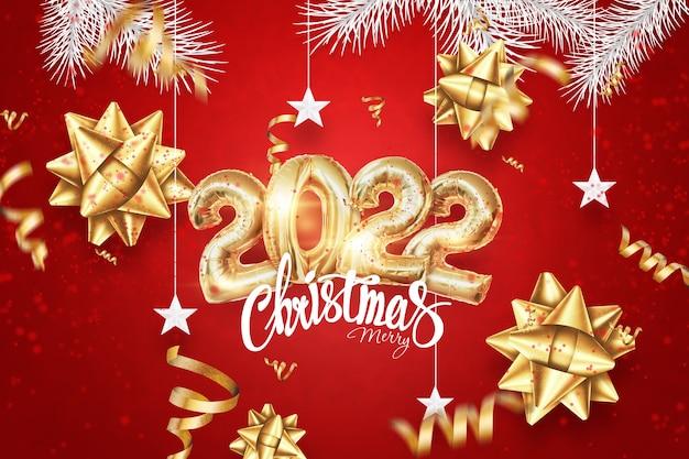 Золотые числа 2022 из воздушных шаров из золотой фольги. с новым годом. современный дизайн на красном фоне. шаблон оформления, заголовок для сайта, плакат, новогодняя открытка, флаер. 3d иллюстрации, 3d визуализация.
