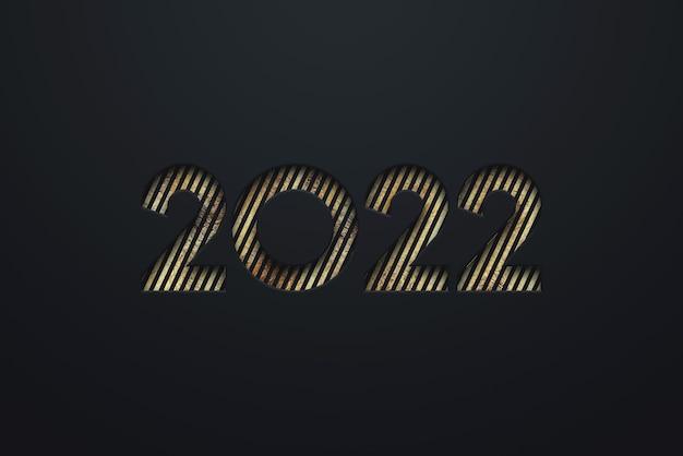 Золотые номера 2022 роскошь, vip на темном фоне. с новым годом. современный дизайн, шаблон, шапка для сайта, плакат, новогодняя открытка, флаер. 3d иллюстрации, 3d визуализация.