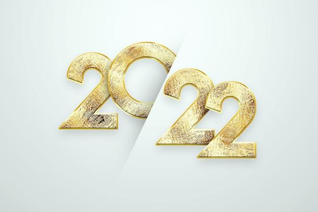 Золотые номера 2022 года роскошь, vip на светлом фоне. с новым годом. современный дизайн, шаблон, шапка для сайта, плакат, новогодняя открытка, флаер. 3d иллюстрации, 3d визуализация.