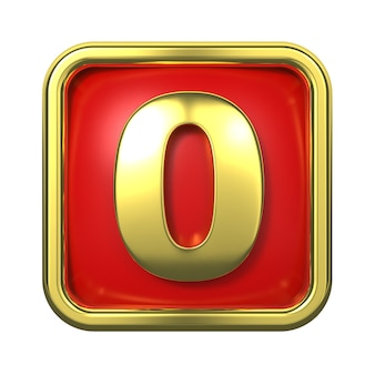 赤い背景の上のフレームの金の数字。番号0