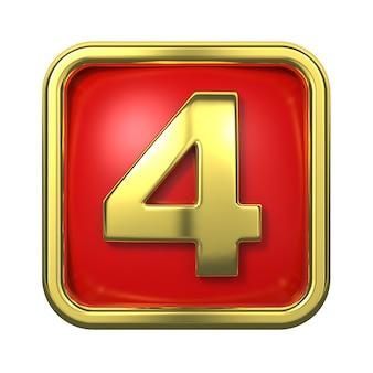 赤い背景の上のフレームの金の数字。ナンバー4